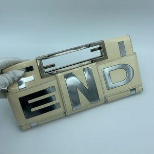 Fendi crossword beige/silver clutch